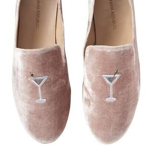 Banana Republic Pink Velvet Smoking Shoe